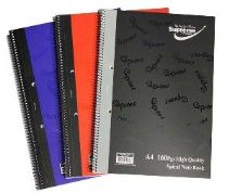 SUPREME A4 160PG SPIRAL NOTEBOOK ASST COLOURS